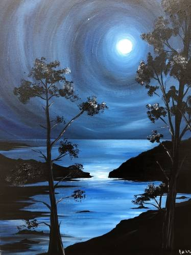A Moonlit Blues paint nite project by Yaymaker