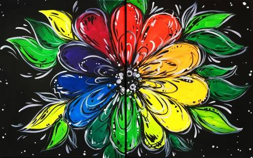 A Colourful Bloom Partner Painting paint nite project by Yaymaker