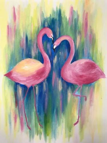 A Pink Flamingos II paint nite project by Yaymaker