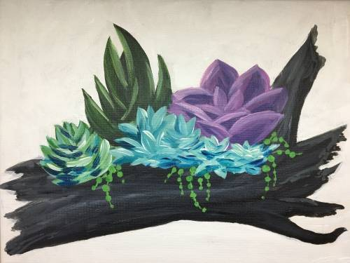 A Driftwood Succulents paint nite project by Yaymaker