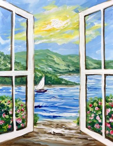 A Beach House Window paint nite project by Yaymaker