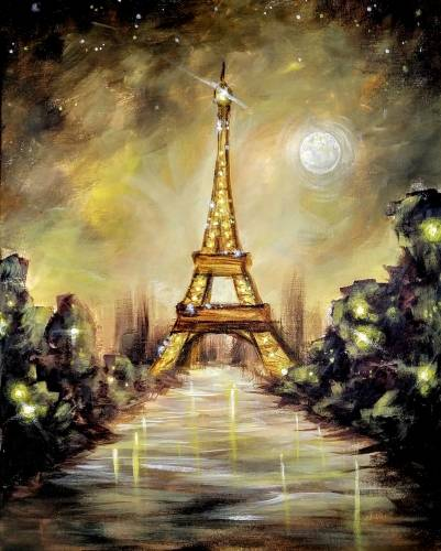A Golden Paris Hour paint nite project by Yaymaker