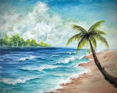 A Beach Vibes paint nite project by Yaymaker