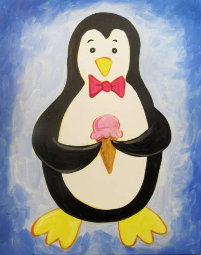 A Penguin with Ice Cream paint nite project by Yaymaker