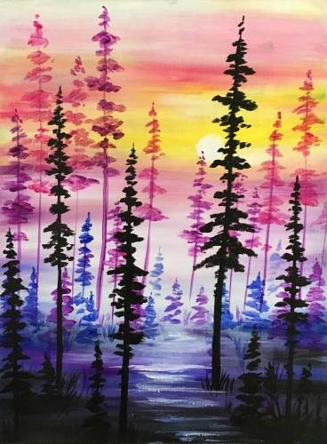 A Pines at twilight paint nite project by Yaymaker