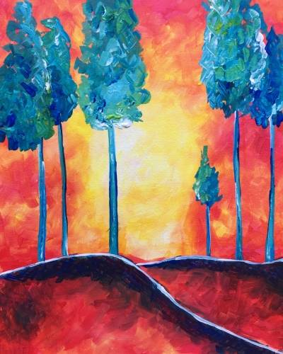 A Whimsical Turquoise Trees paint nite project by Yaymaker