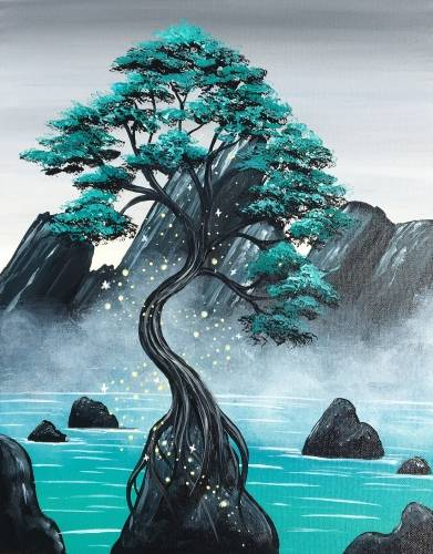 A Misty Mountain Magic paint nite project by Yaymaker