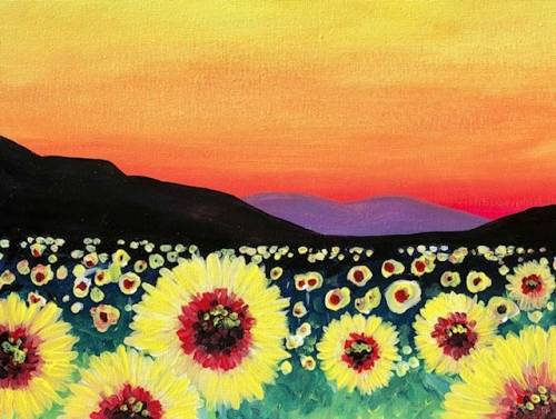 A Sunflower Fields paint nite project by Yaymaker