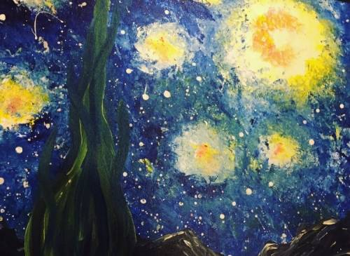 A Van Goghs Galaxy paint nite project by Yaymaker