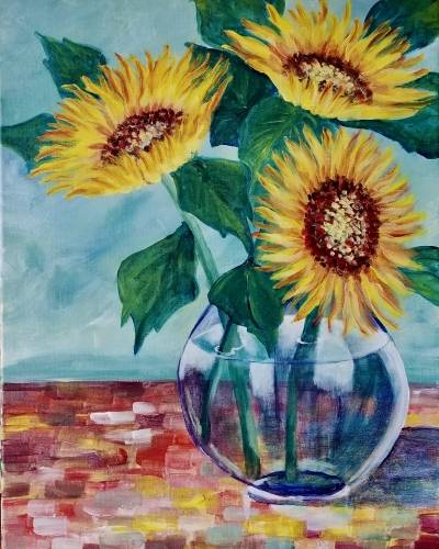 A Sunflowers a la Van Gogh paint nite project by Yaymaker
