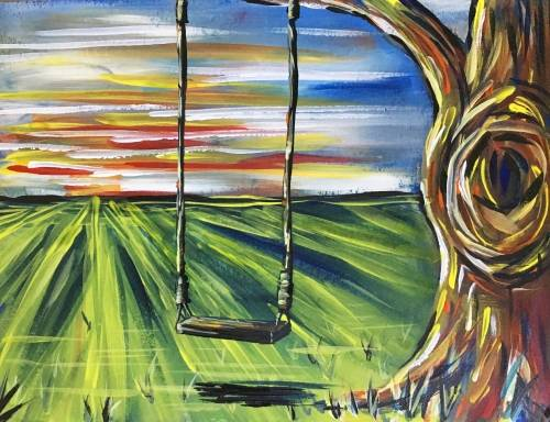 A Tree swing at sunset paint nite project by Yaymaker