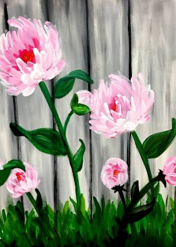 A Pretty as a Peony paint nite project by Yaymaker