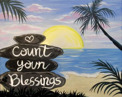 A Always Count Your Blessings paint nite project by Yaymaker