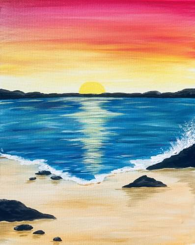 A Beach rocks at sunset paint nite project by Yaymaker
