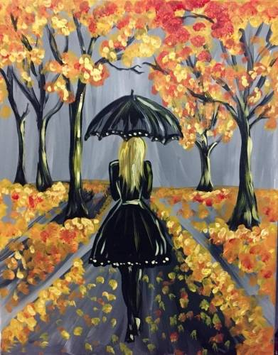 A Gold Autumn Stroll paint nite project by Yaymaker