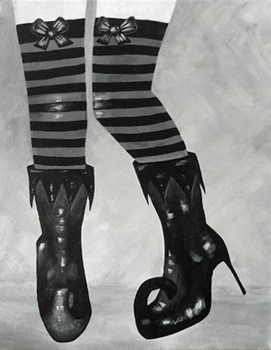 A Witchy Woman Wicked Boots paint nite project by Yaymaker