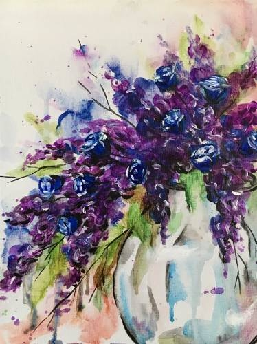 A Blue Roses Bouquet paint nite project by Yaymaker