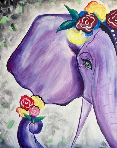 A Queen of the Elephants paint nite project by Yaymaker