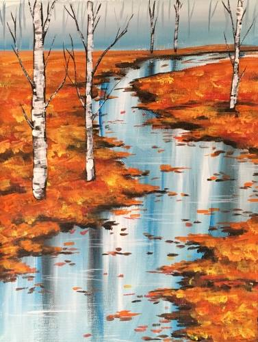 A Rainy Autumn Wanderings paint nite project by Yaymaker