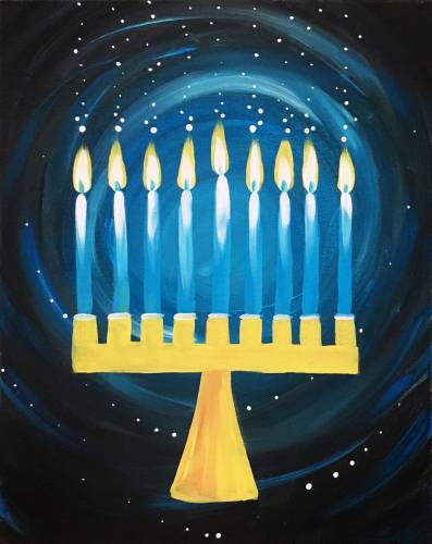 A The Menorah Is Lit paint nite project by Yaymaker