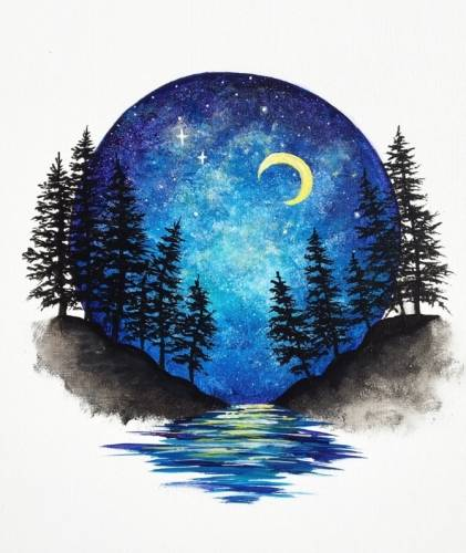 A Moonlit Vignette paint nite project by Yaymaker