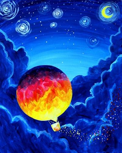 A Moon Balloon paint nite project by Yaymaker