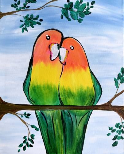 A Summer Love Birds paint nite project by Yaymaker