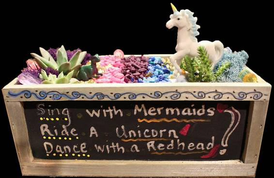 A Unicorn Spirit Chalkboard Container plant nite project by Yaymaker