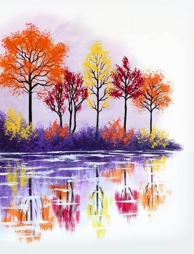 A Fall Lake Reflection paint nite project by Yaymaker