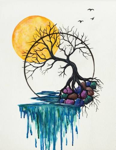 A Sunlit Tree of Life paint nite project by Yaymaker
