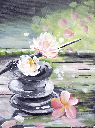 A Zen Pink Flowers paint nite project by Yaymaker
