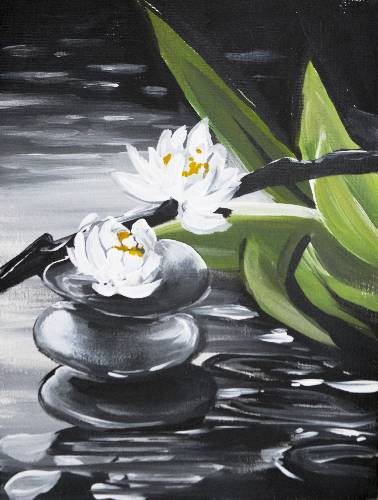 A Tranquility and Balance On A Rainy Day paint nite project by Yaymaker