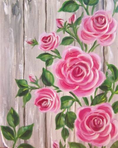 A Barnyard Roses paint nite project by Yaymaker