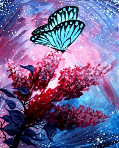 A Lilac Butterfly AND MAGIC paint nite project by Yaymaker