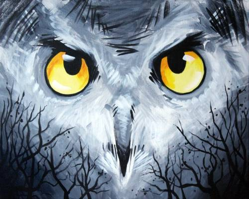 A Gray and Yellow Owl paint nite project by Yaymaker