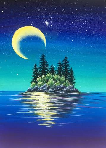 A Moonlit Island paint nite project by Yaymaker