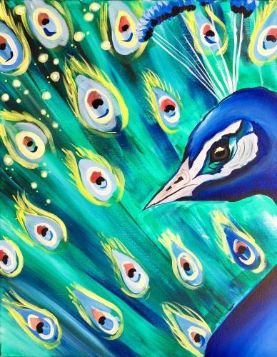 A Peacock Swag paint nite project by Yaymaker