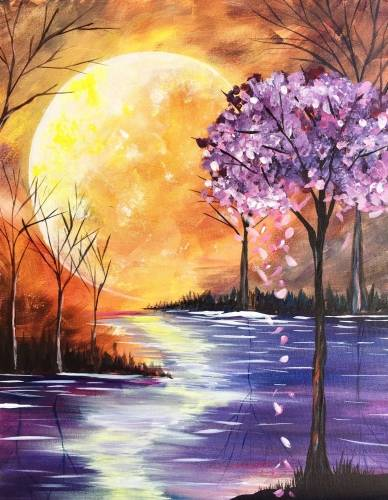 A Last Bloom Under A Magical Moon paint nite project by Yaymaker