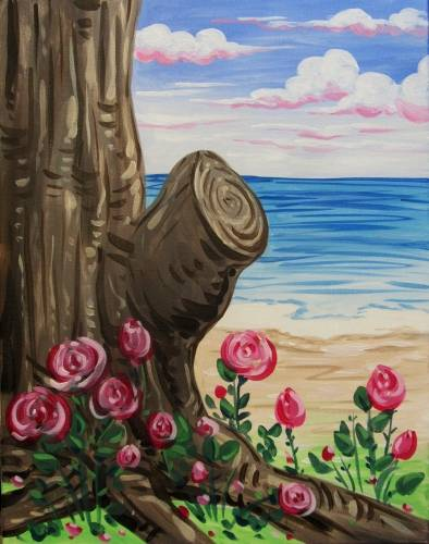 A Wild Roses near the Shoreline paint nite project by Yaymaker