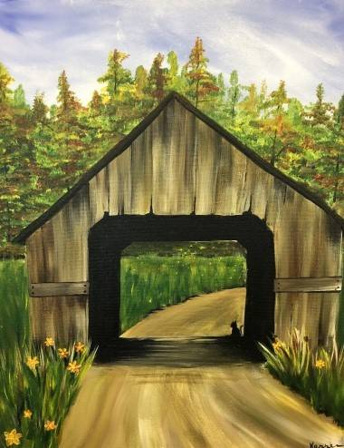 A Covered Bridge in Autumn paint nite project by Yaymaker