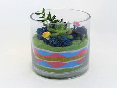 A Colored Sand and Succulents in Glass Cylinder plant nite project by Yaymaker