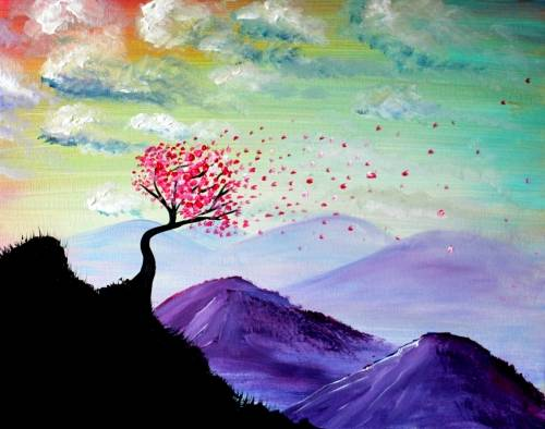 A Blossoms Through the Hills paint nite project by Yaymaker
