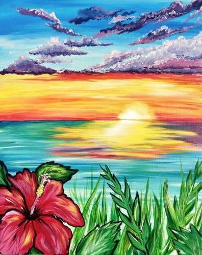 A SunKissed Hibiscus paint nite project by Yaymaker
