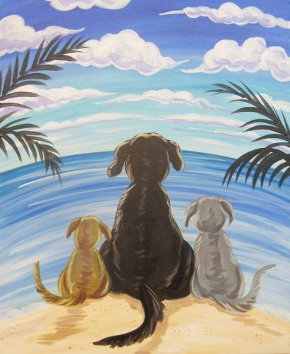 A Doggies Beach Unwind paint nite project by Yaymaker