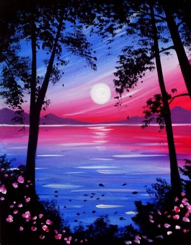 A Shimmering Sunset paint nite project by Yaymaker