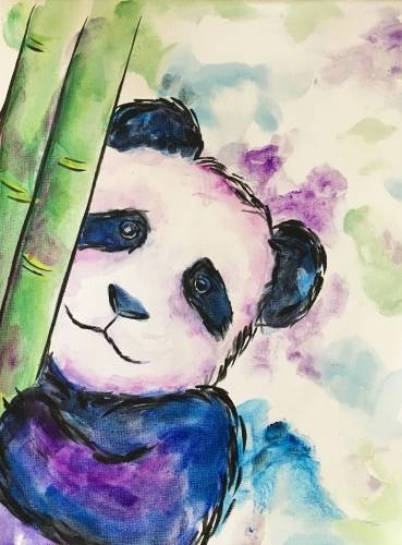A Purple Panda Bear paint nite project by Yaymaker