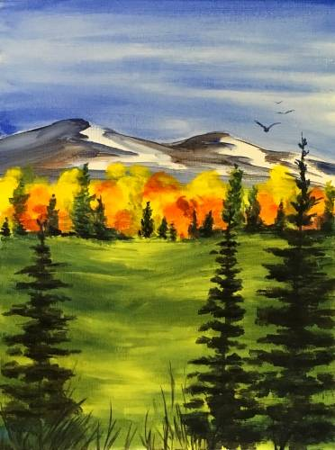 A Autumn Mountain Meadows paint nite project by Yaymaker