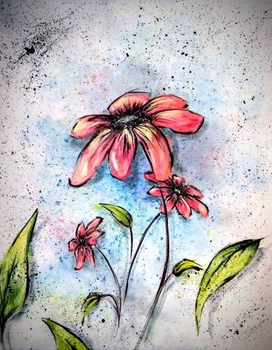 A Cool Peach Flower paint nite project by Yaymaker
