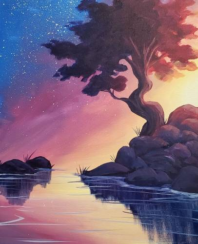 A Brilliant Twilight Sky paint nite project by Yaymaker