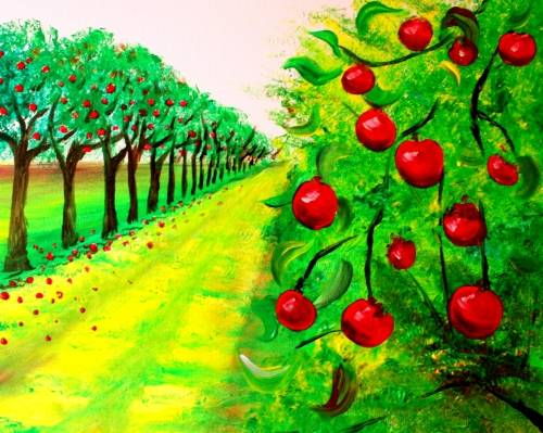 A Afternoon Apple Orchard paint nite project by Yaymaker